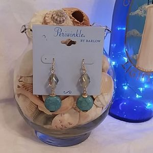 Goldtone and Turquoise Earrings NWT